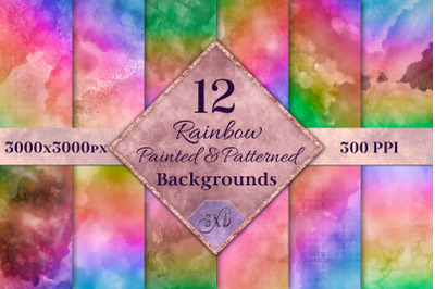 Rainbow Painted and Patterned Backgrounds - 12 Images