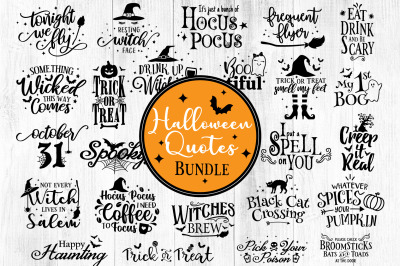 Halloween Quotes SVG Bundle, Silhouette Halloween svg, Witch Svg