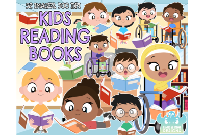 Kids Reading Books Clipart - Lime and Kiwi Designs