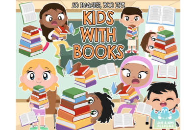 Kids With Books Clipart - Lime and Kiwi Designs