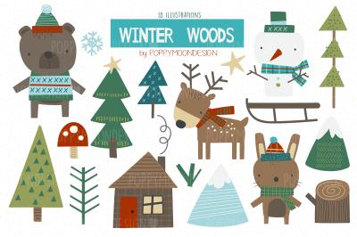 Winter Woods clipart set