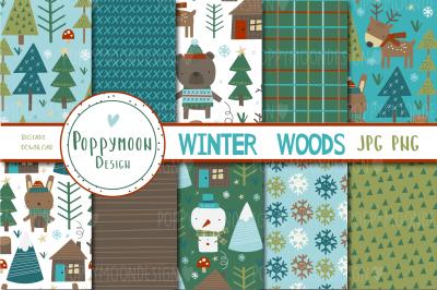 Winter woods paper set