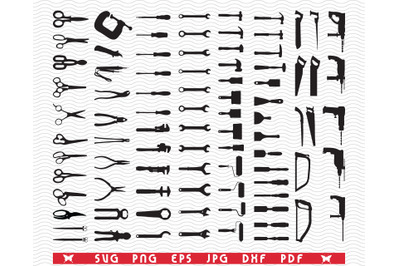 SVG Hand Tools, Black silhouettes, Digital clipart