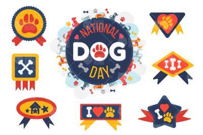 Cartoon Dog Reward Badges Set