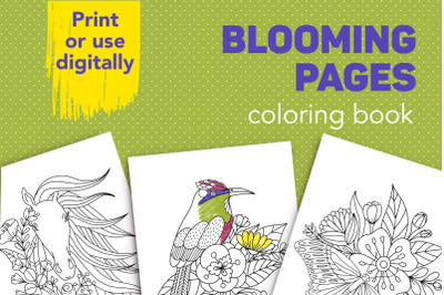 Blooming pages is 10 coloring images with flowers