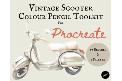 Vintage Scooter Colour Pencil Toolkit for Procreate - Brushes & Palett