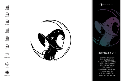 The Witch & Moon SVG | Halloween SVG