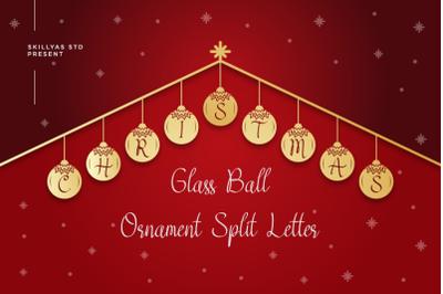 Christmas Glass Ball Ornament Split letter