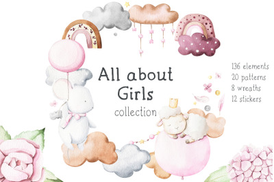 All about girls - watercolor set