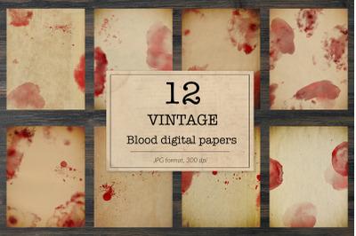 Horror digital paper, junk journal papers