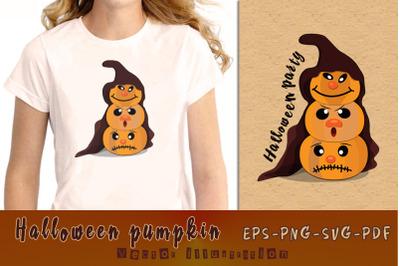 Pumpkin Halloween Party. Vector illustration