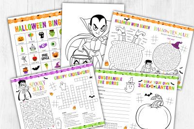Halloween Activities, Games, Bingo, Coloring Sheets