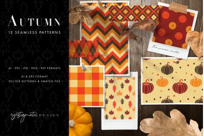 12 Seamless Autumn Patterns - Set 2