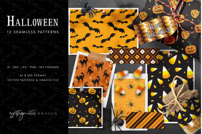 12 Seamless Halloween Patterns