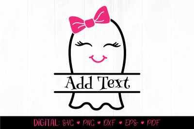 Cute Ghost Split Monogram SVG, Pink Halloween