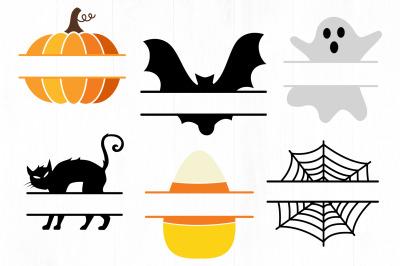 Halloween Split Monogram SVG, Halloween SVG, Ghost, Pumpkin, Bat