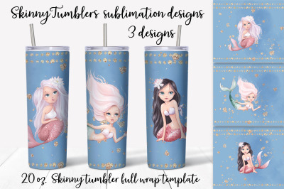 Mermaid sublimation design. Skinny tumbler wrap design.