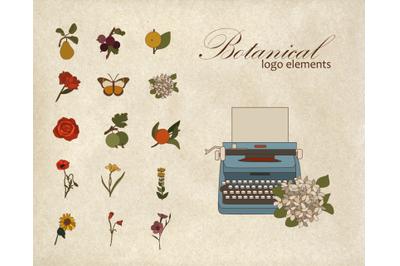 Logo elements, vintage design, botanical clipart, handdrawn svg, boho