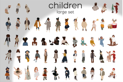 Large set, children svg, black kids, african american, abstract