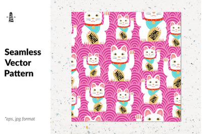 Japanese lucky cat seamless pattern