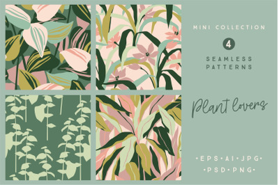 Plant lovers. 4 seamless patterns