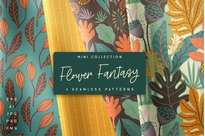 Flower Fantasy. 4 seamless patterns