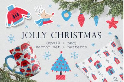 Jolly Christmas. Vector set+Patterns