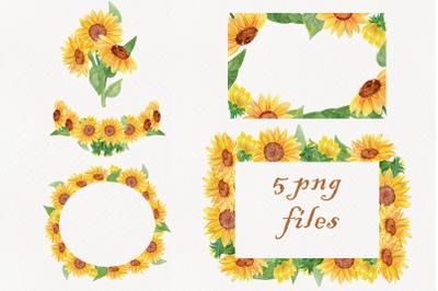 watercolor sunflower png frame clipart, flower wreath clip art