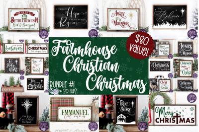 Christmas Svg, Christian Farmhouse Christmas Sign Bundle