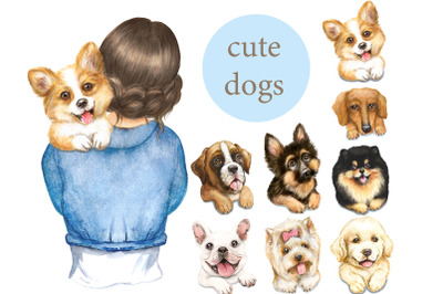 Dogs watercolor clipart. Woman with dog, dog portrait, girl with dogs