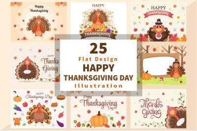 25 Happy Thanksgiving with Cartoon Turkey Vector Illustration
