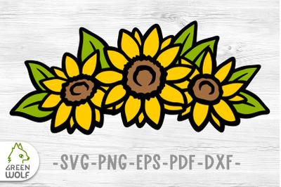 Layered sunflower svg Farm flower bouquet svg file for cricut