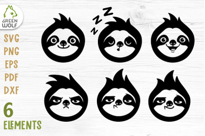 Sloth face clipart Sloth svg Cute animal face svg Animal svg bundle