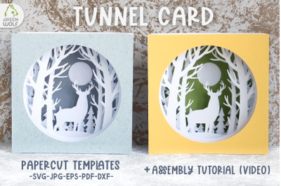 Shadow box svg Tunnel card svg Deer papercut card Forest svg file