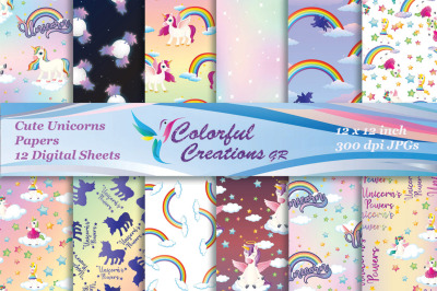 Cute Unicorn Digital Papers, Unicorn Images,, girly scrapbook papers