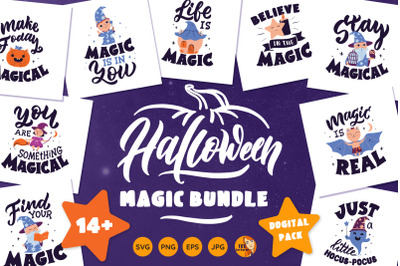 Halloween bundle. Magic characters and quotes