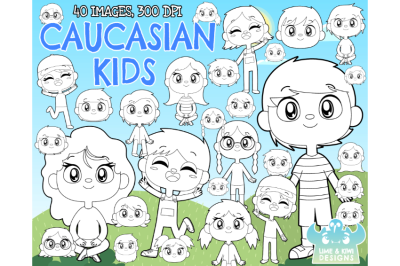 Caucasian Kids Digital Stamps - Lime and Kiwi Designs