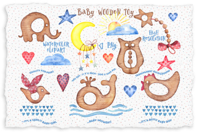 Watercolor wooden baby toys clipart