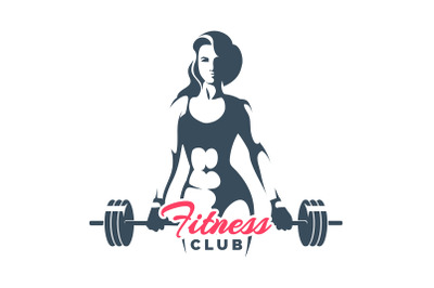 Fitness Club Logo Woman Holds Barbell on White Background
