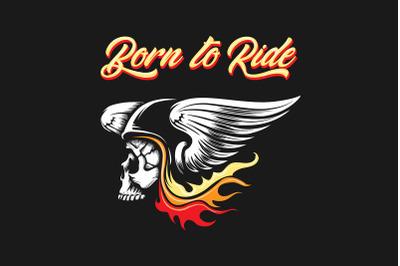 Skull in Biker Helmet with Wings Emblem