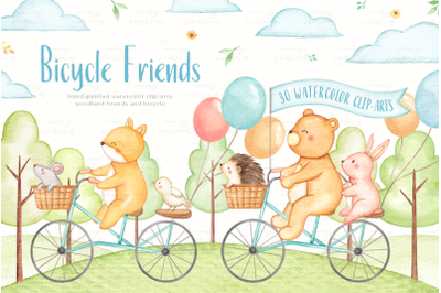 Bicycle Friends Watercolor Clip Arts