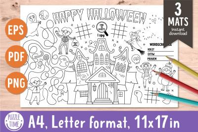 Halloween activity placemats