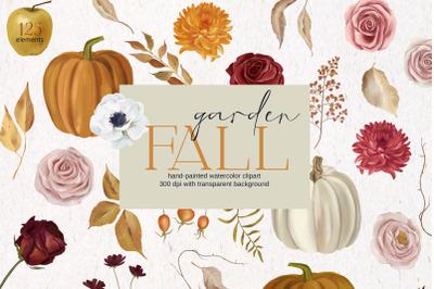 Fall garden, autumn watercolor set