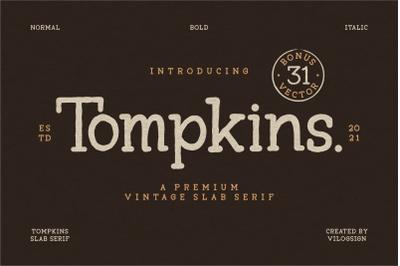 Tompkins a Vintage Slab Serif Font