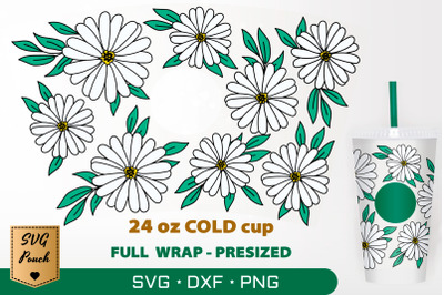 Daisy flowers cup wrap SVG