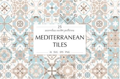 Mediterranean tiles vector patterns