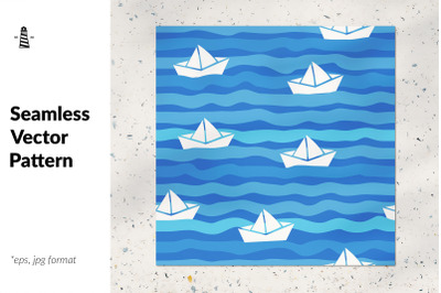 Paper boats seamless pattern