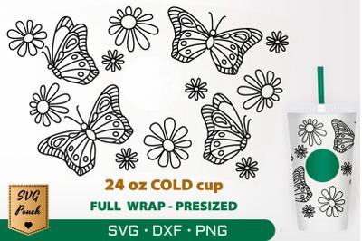 Butterflies cup wrap SVG