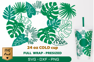Jungle Leaves cup wrap SVG
