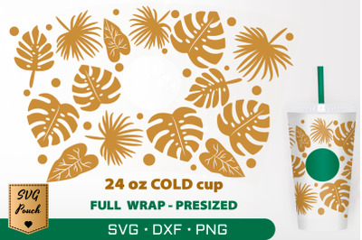 Tropical Palm Leaves cup wrap SVG